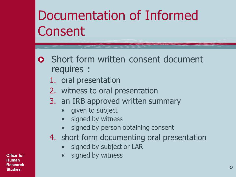 Documentation of Informed Consent