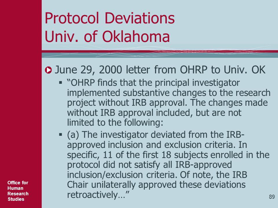 Protocol Deviations Univ. of Oklahoma