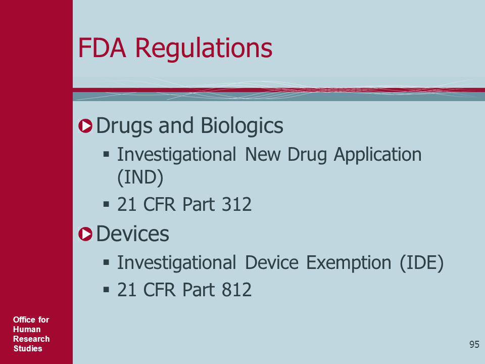 FDA Regulations Drugs and Biologics Devices