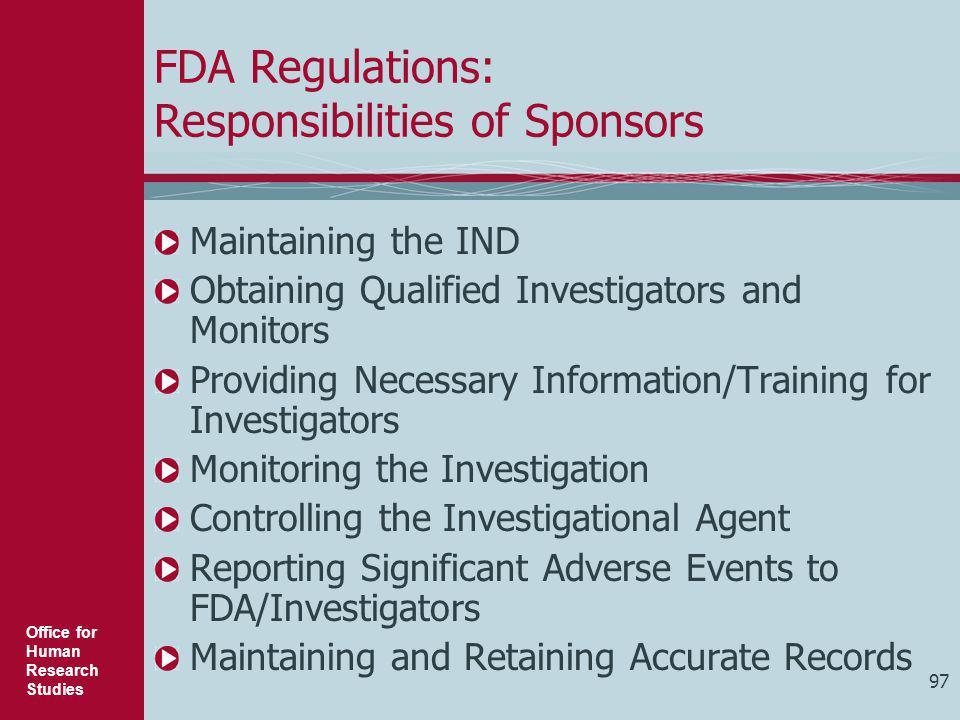 FDA Regulations: Responsibilities of Sponsors