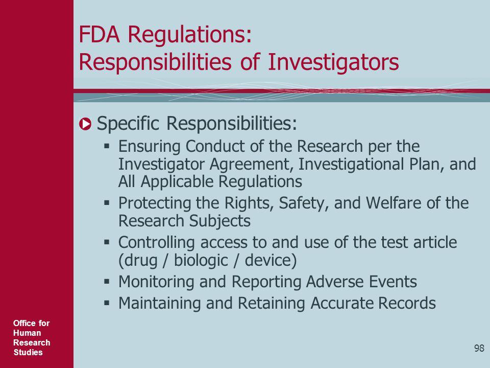 FDA Regulations: Responsibilities of Investigators