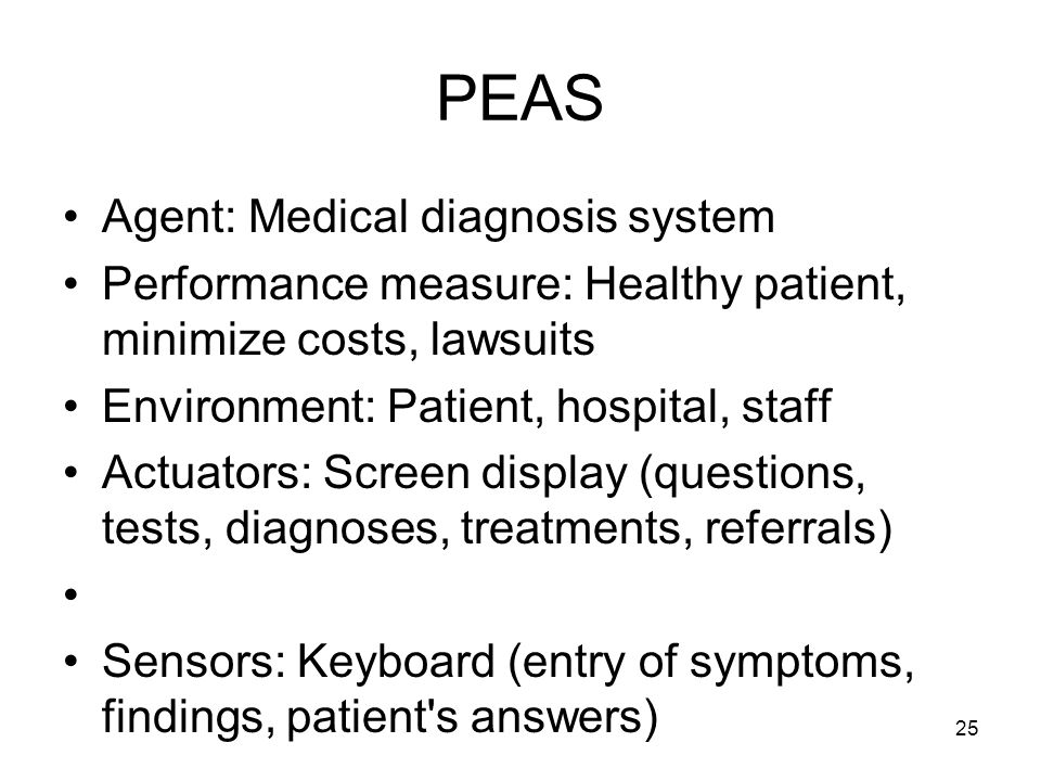 PEAS Agent: Medical diagnosis system