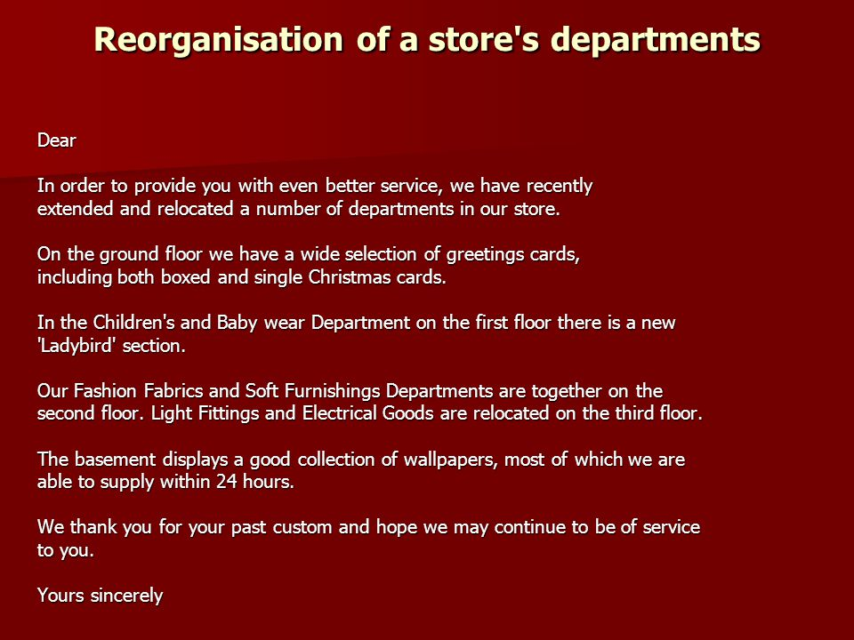 Reorganisation of a store s departments