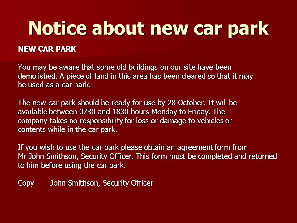 Notice about new car park