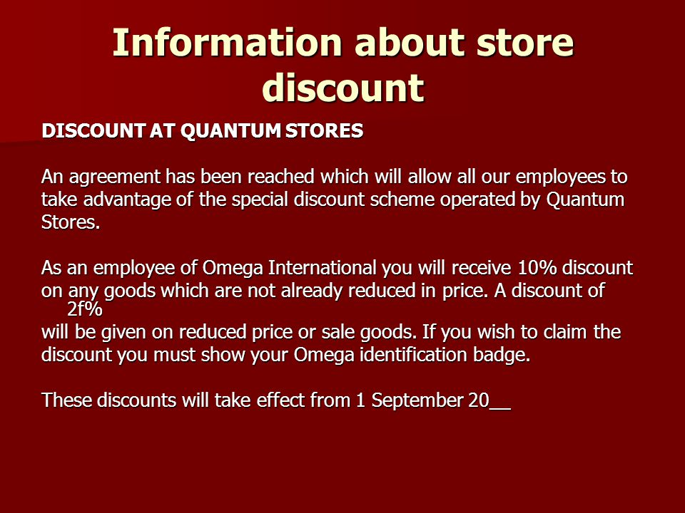Information about store discount