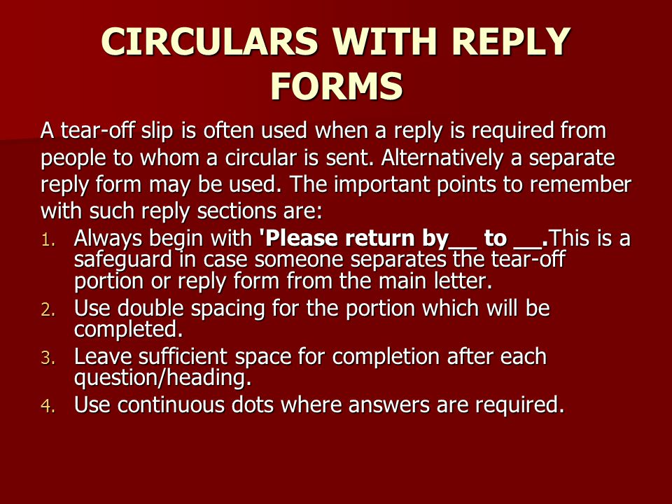 CIRCULARS WITH REPLY FORMS