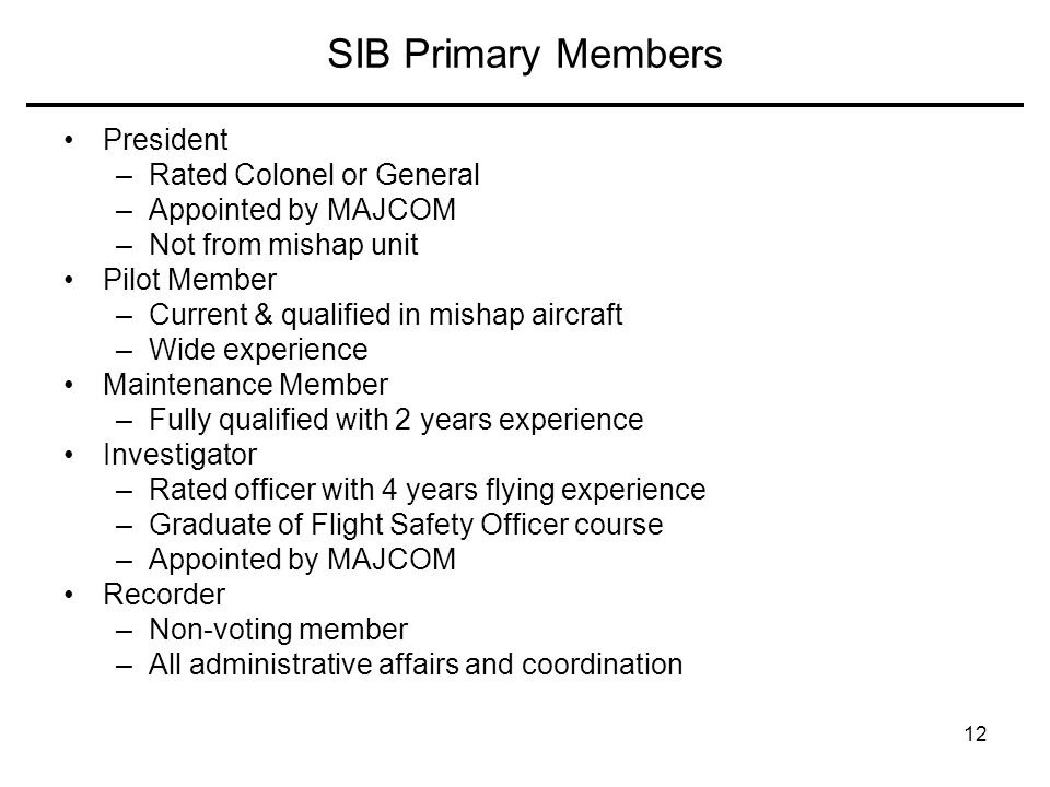 SIB Primary Members President Rated Colonel or General