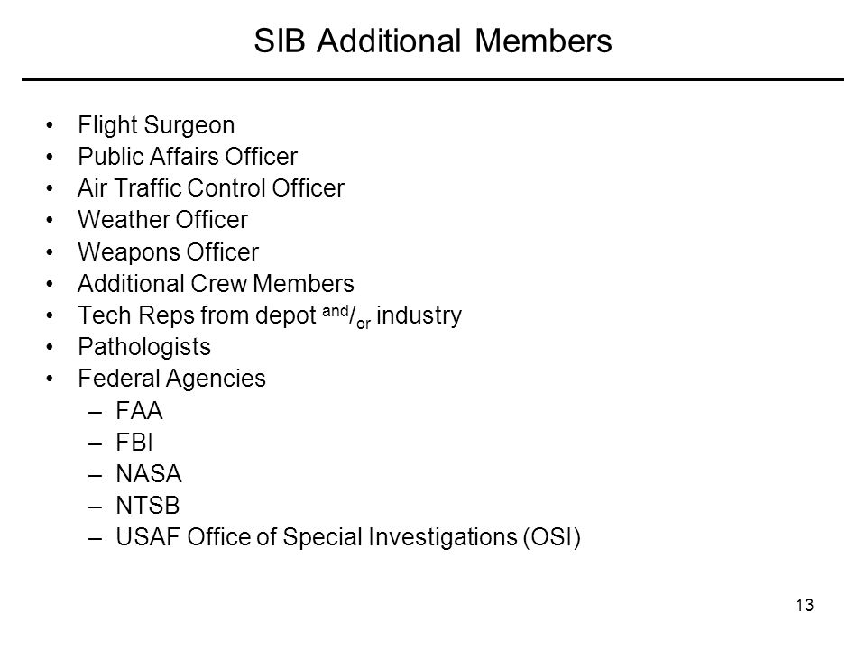 SIB Additional Members