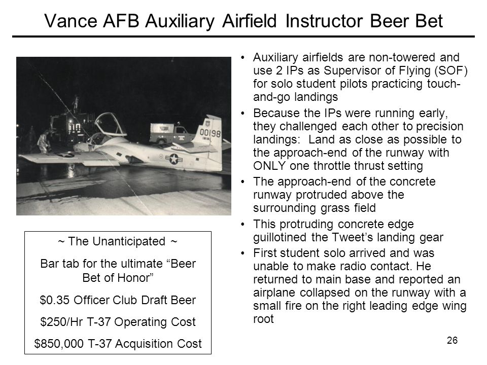 Vance AFB Auxiliary Airfield Instructor Beer Bet