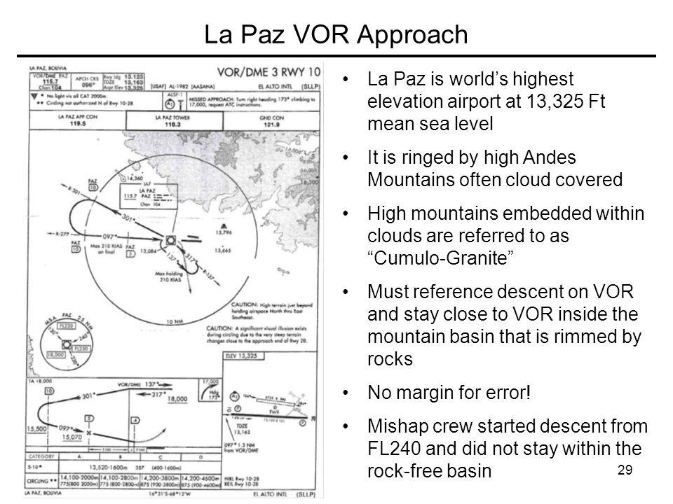 La Paz VOR Approach La Paz is world's highest elevation airport at 13,325 Ft mean sea level.
