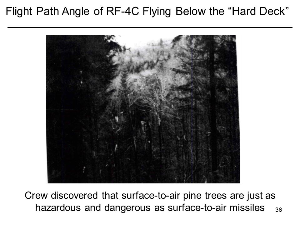 Flight Path Angle of RF-4C Flying Below the Hard Deck