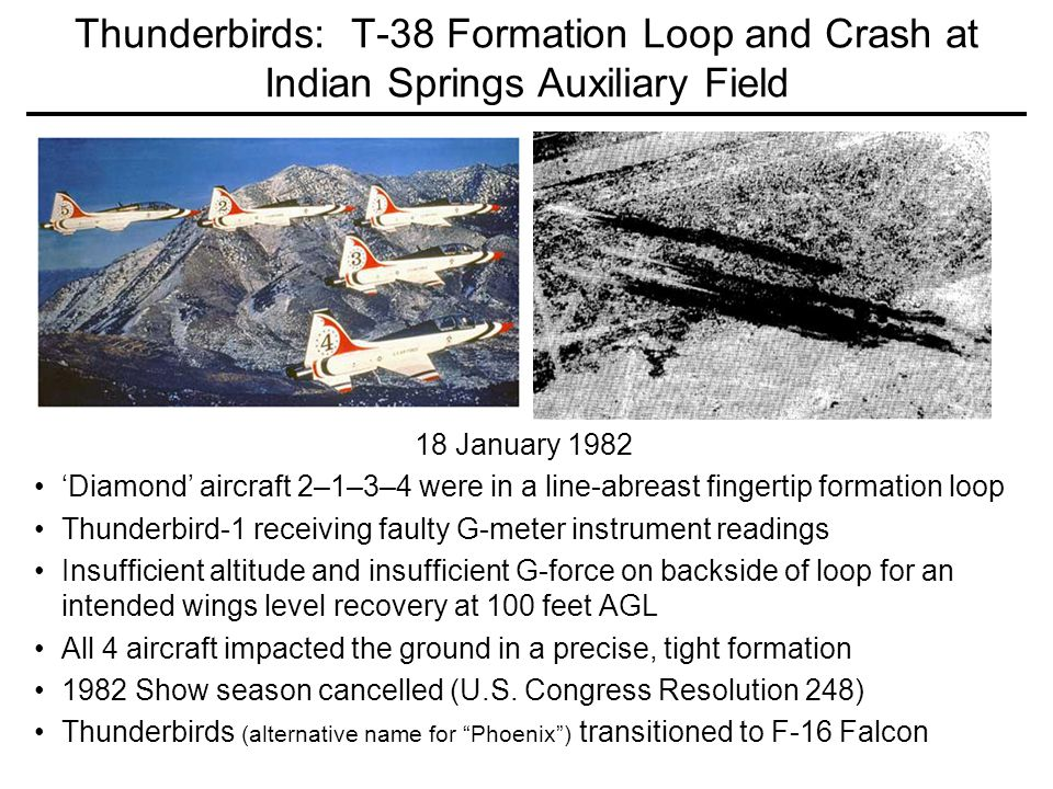 Thunderbirds: T-38 Formation Loop and Crash at Indian Springs Auxiliary Field