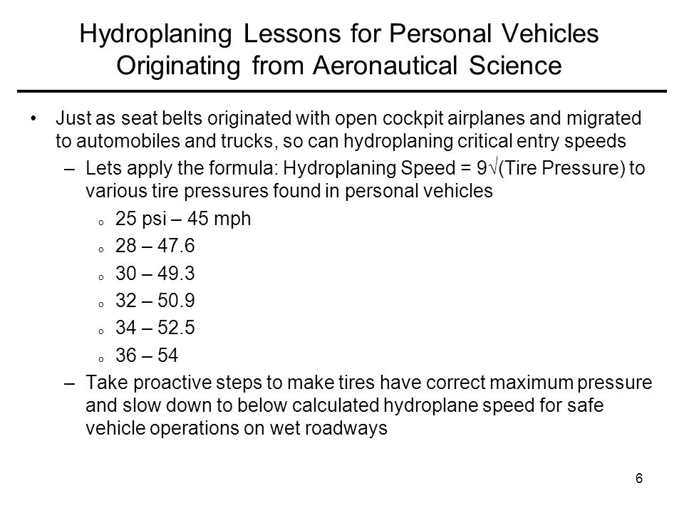 Hydroplaning Lessons for Personal Vehicles Originating from Aeronautical Science