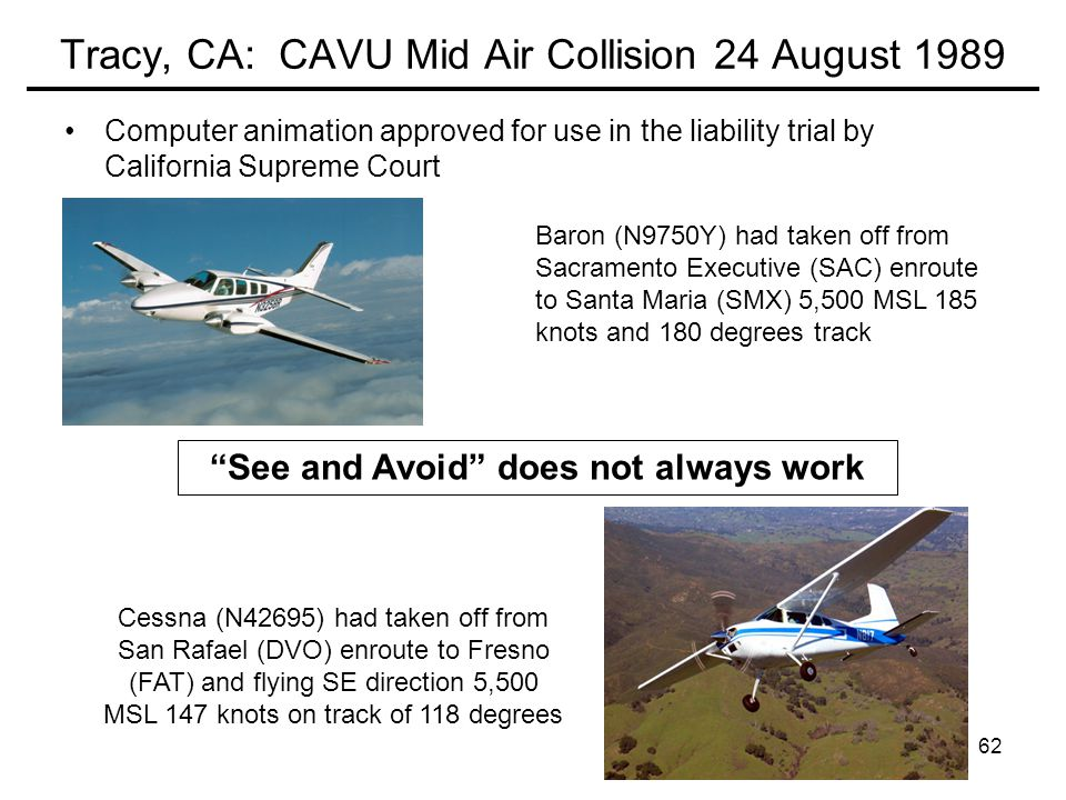 Tracy, CA: CAVU Mid Air Collision 24 August 1989