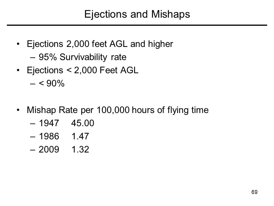 Ejections and Mishaps Ejections 2,000 feet AGL and higher