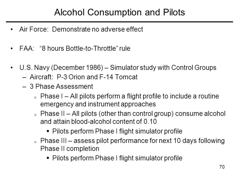 Alcohol Consumption and Pilots