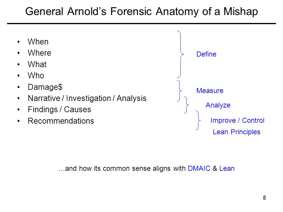 General Arnold's Forensic Anatomy of a Mishap