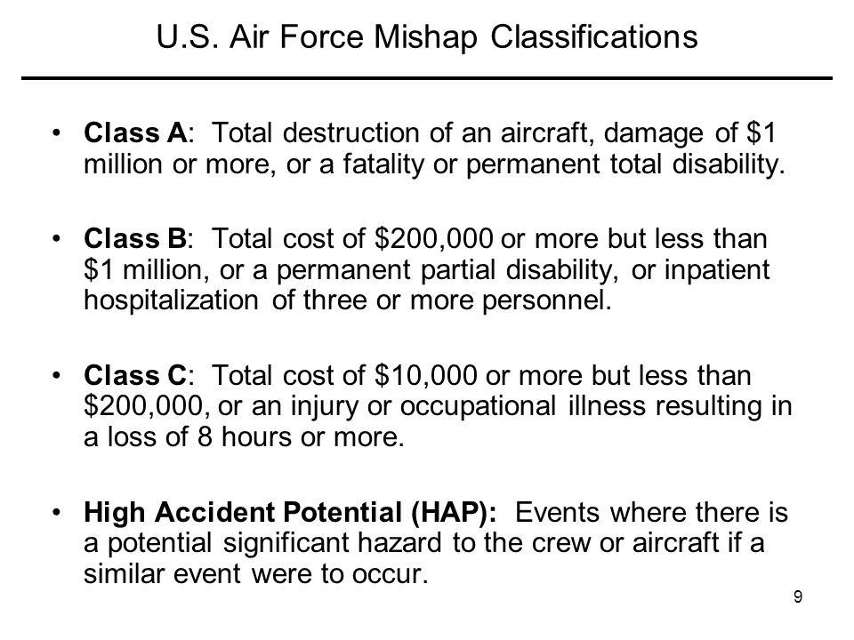 U.S. Air Force Mishap Classifications