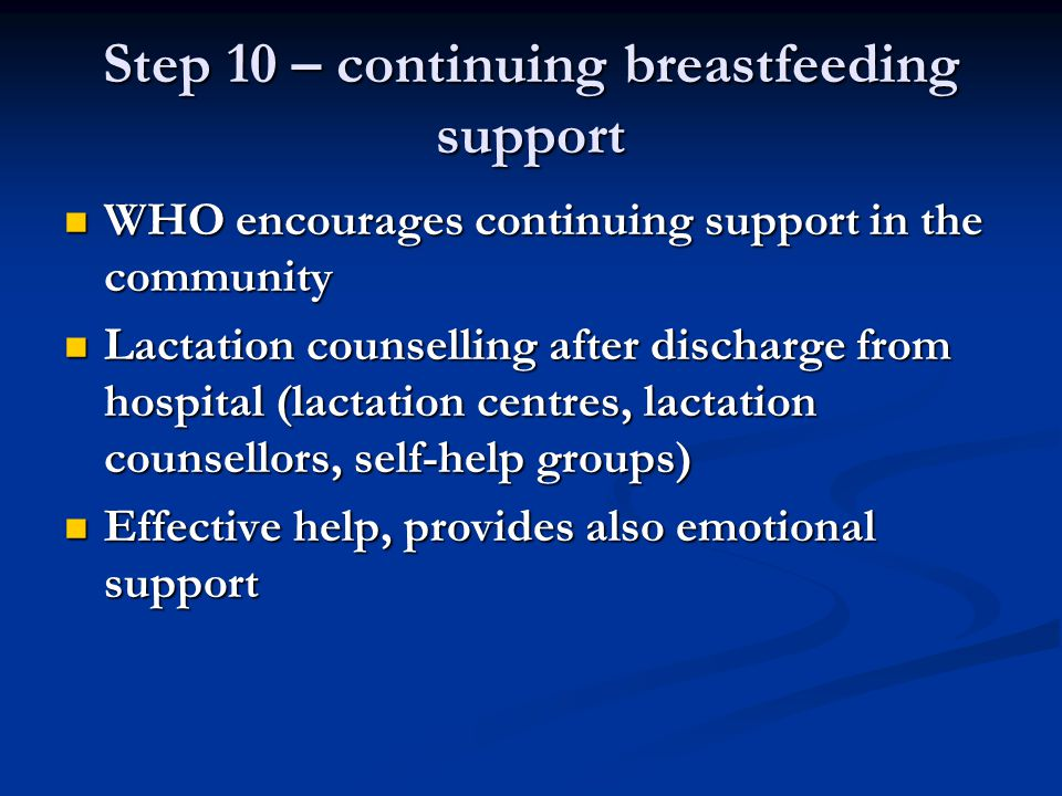 Step 10 – continuing breastfeeding support