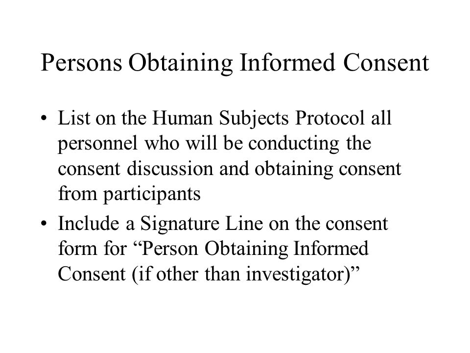 Persons Obtaining Informed Consent