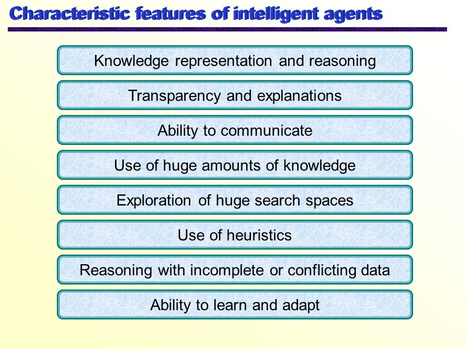 Characteristic features of intelligent agents