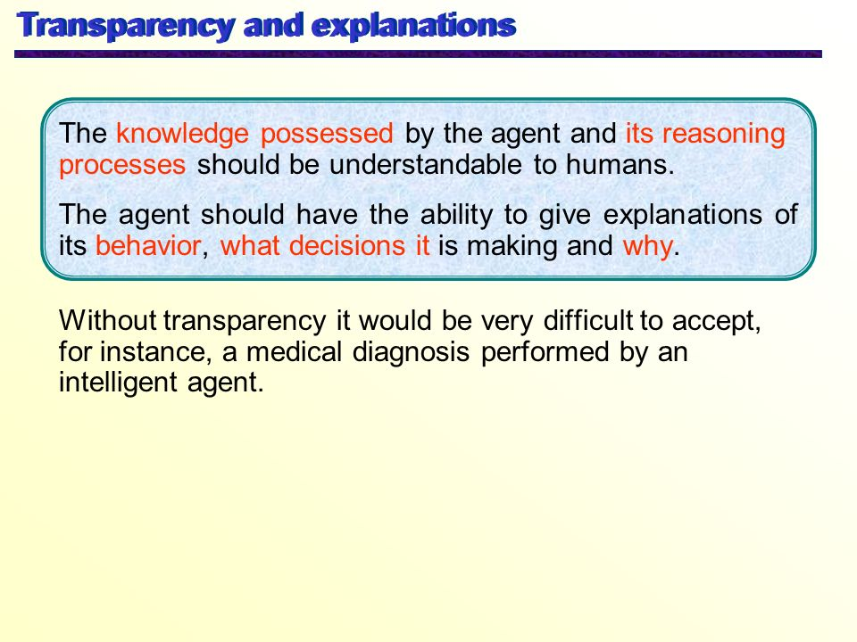 Transparency and explanations