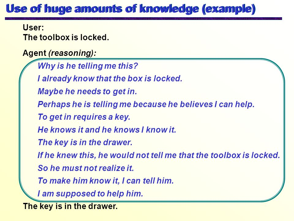 Use of huge amounts of knowledge (example)