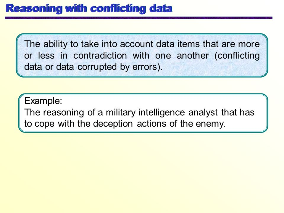 Reasoning with conflicting data