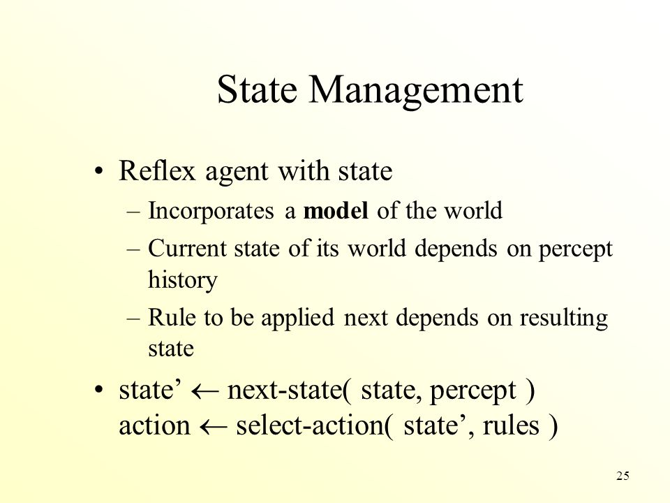 State Management Reflex agent with state