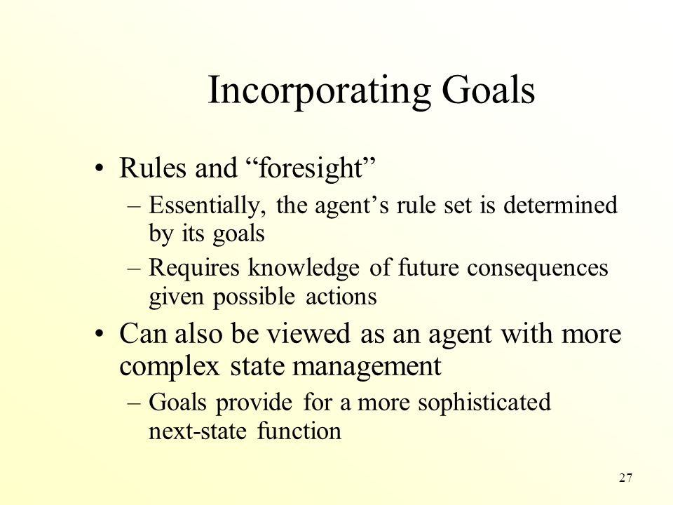 Incorporating Goals Rules and foresight