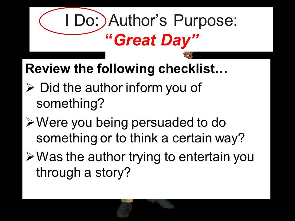 I Do: Author's Purpose: Great Day