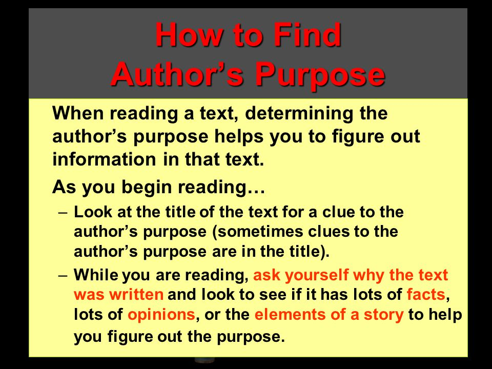 How to Find Author's Purpose
