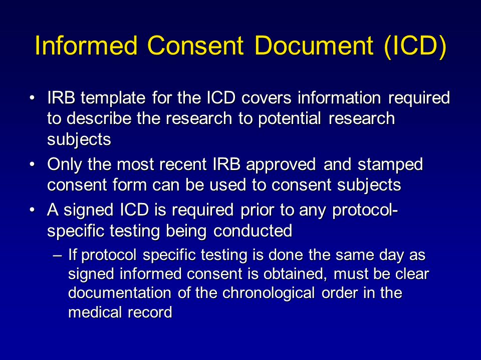 Informed Consent Document (ICD)