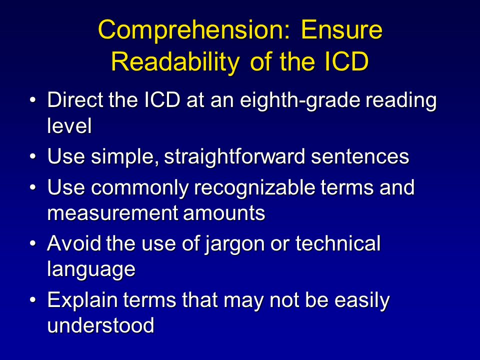 Comprehension: Ensure Readability of the ICD