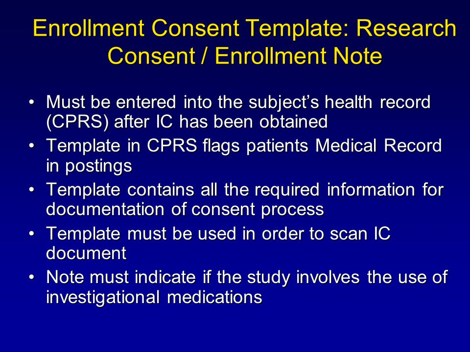 Enrollment Consent Template: Research Consent / Enrollment Note