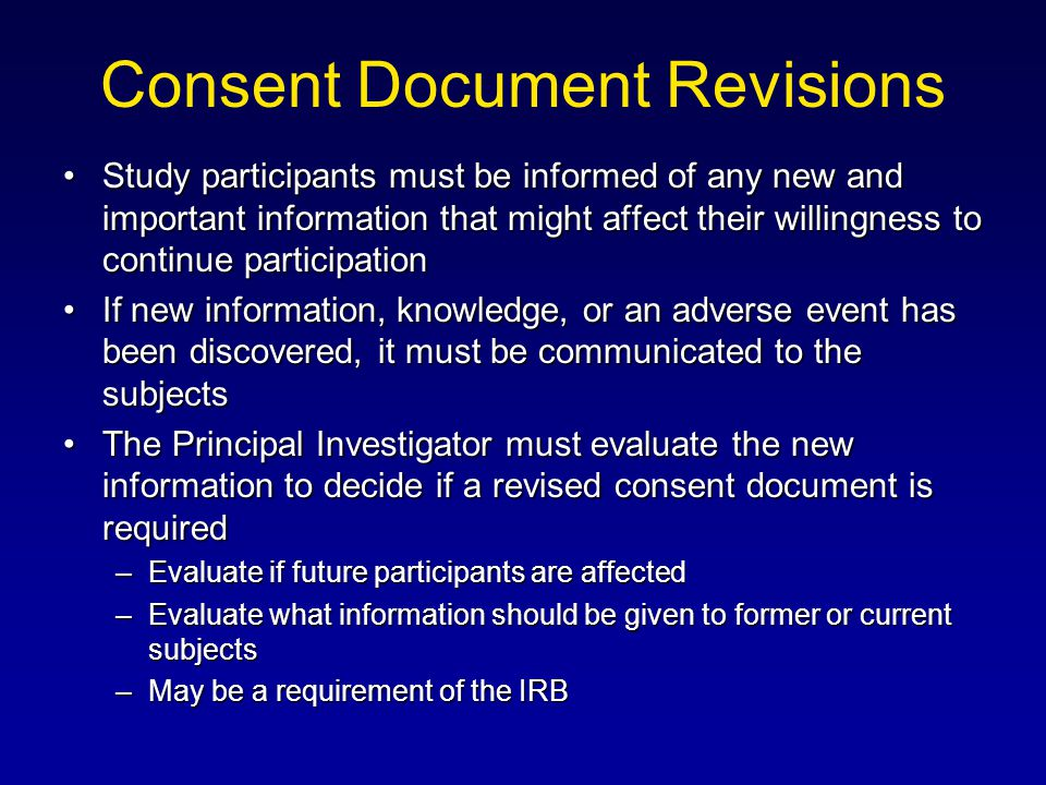 Consent Document Revisions