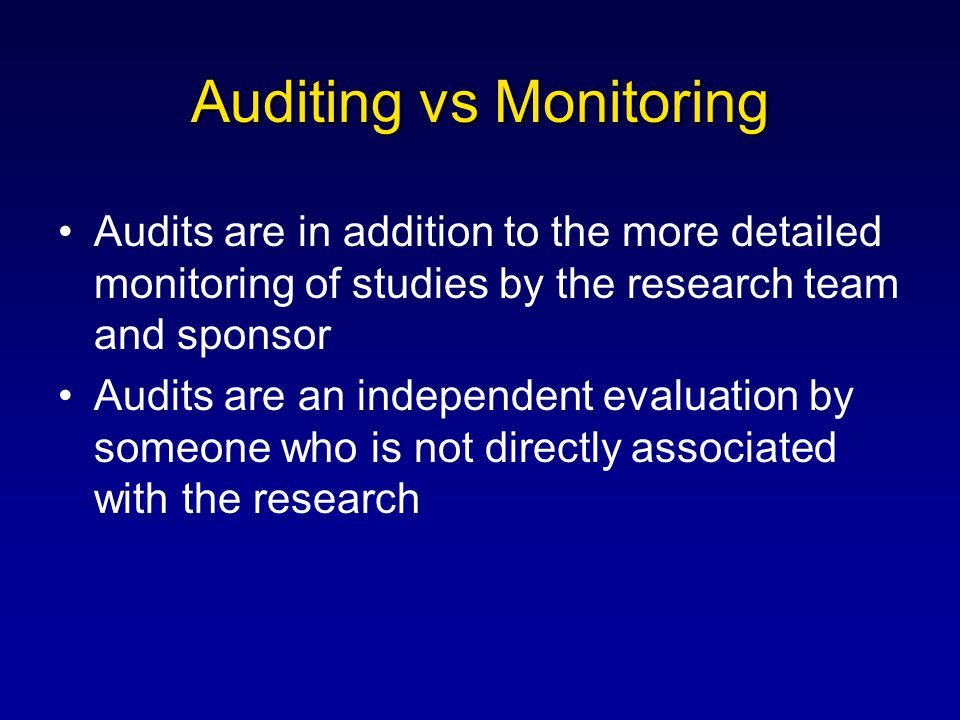 Auditing vs Monitoring