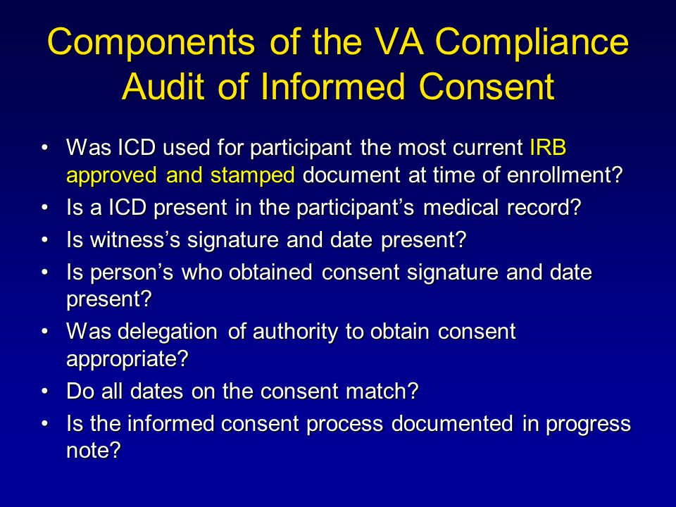 Components of the VA Compliance Audit of Informed Consent