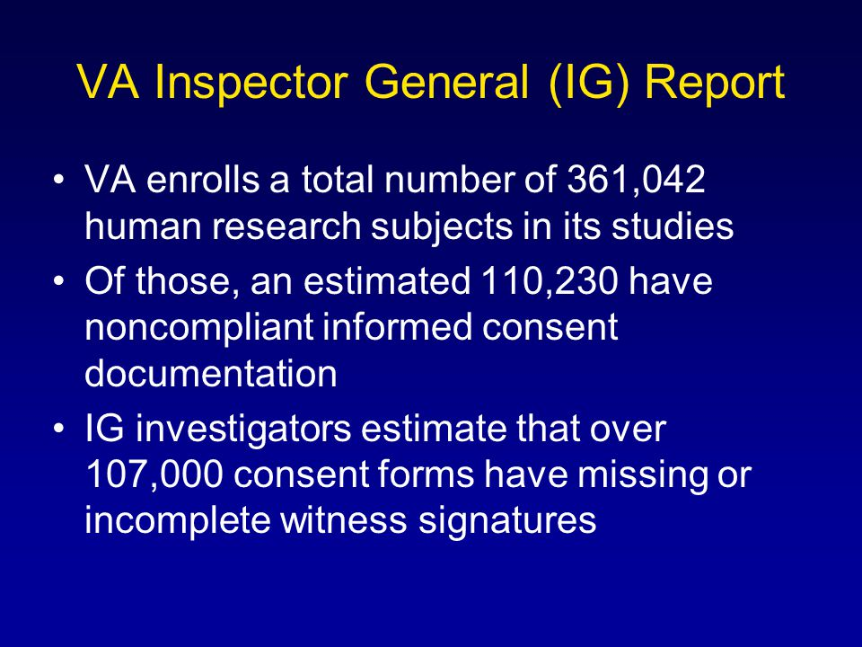 VA Inspector General (IG) Report