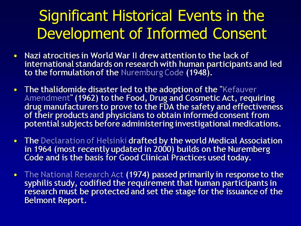 Significant Historical Events in the Development of Informed Consent