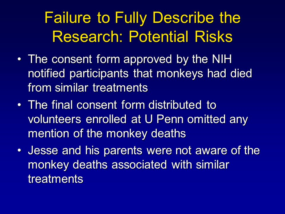 Failure to Fully Describe the Research: Potential Risks