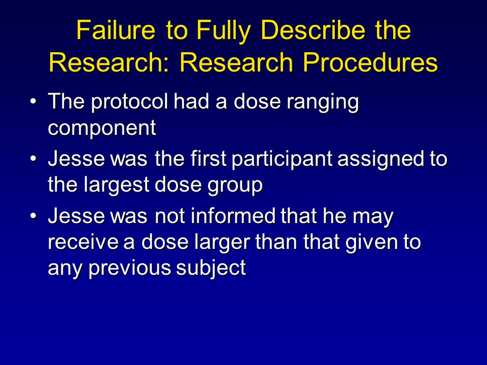 Failure to Fully Describe the Research: Research Procedures