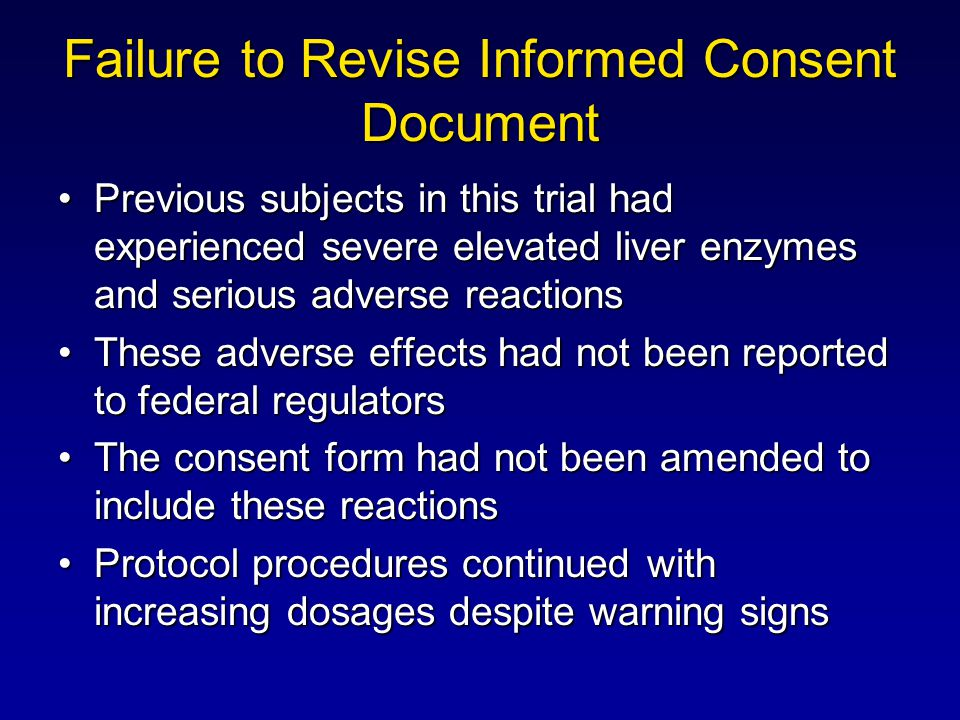 Failure to Revise Informed Consent Document