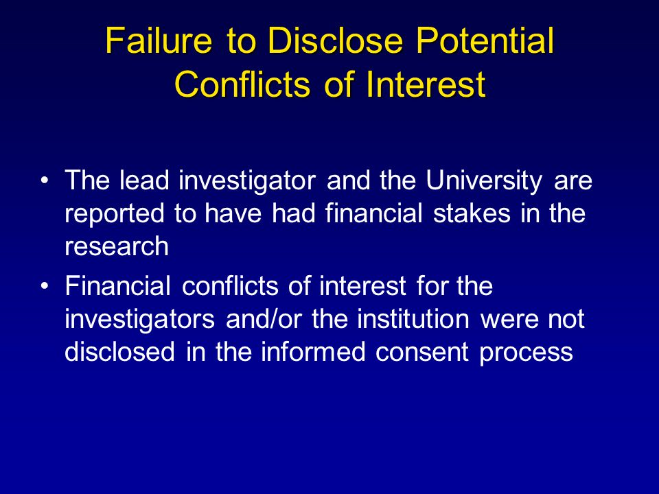 Failure to Disclose Potential Conflicts of Interest