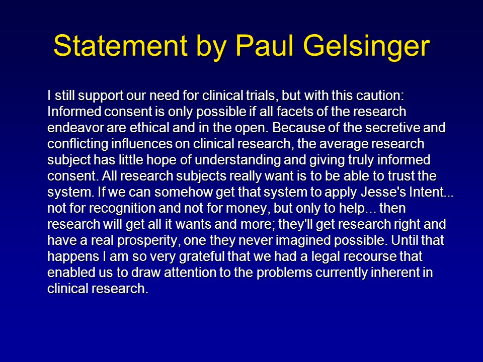 Statement by Paul Gelsinger