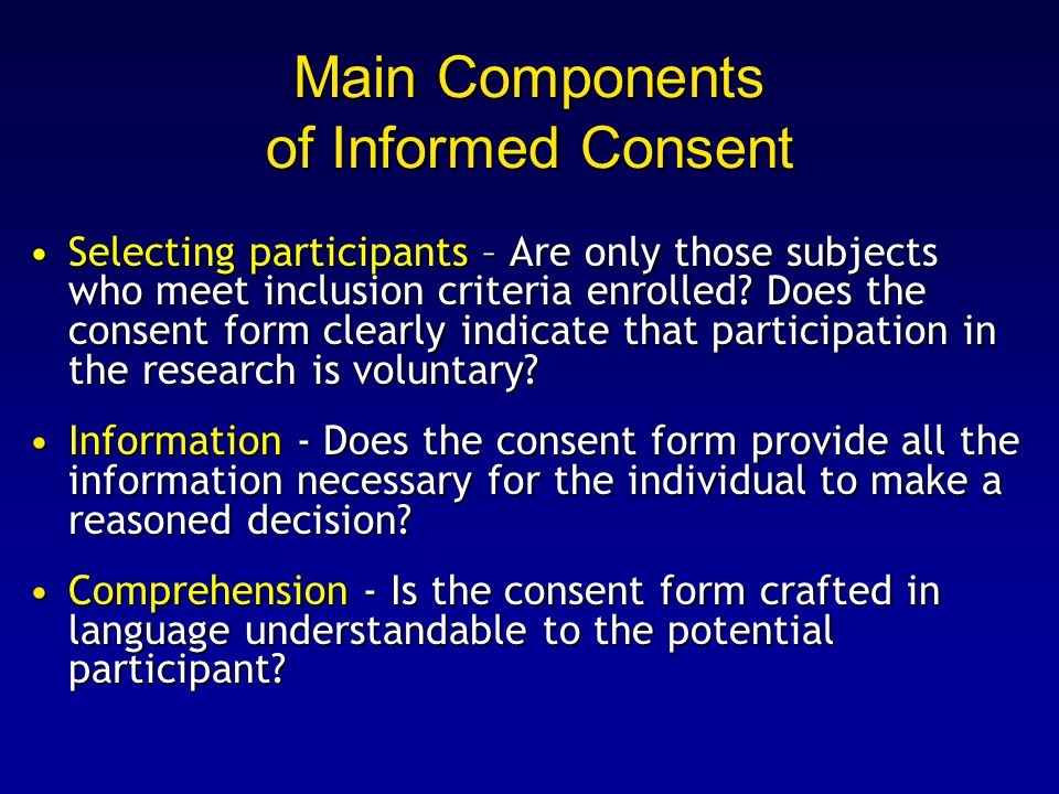Main Components of Informed Consent