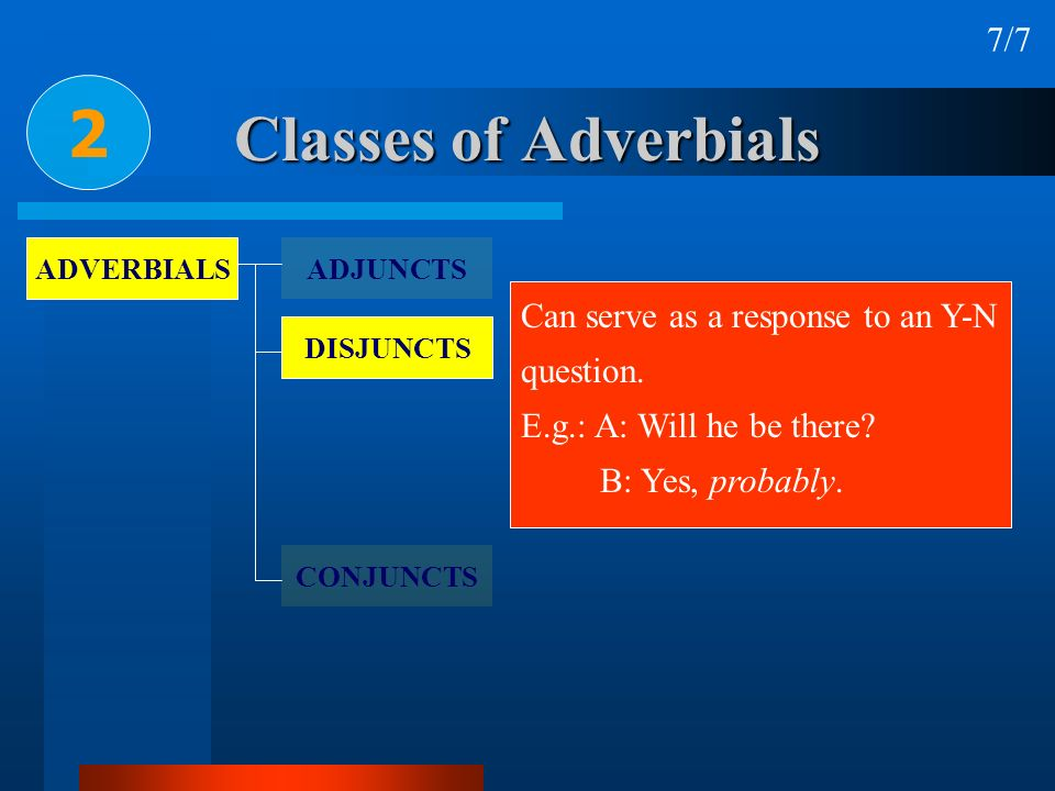 2 Classes of Adverbials 7/7 Can serve as a response to an Y-N