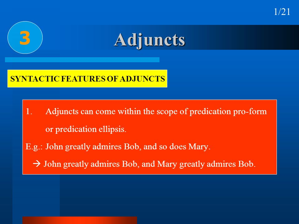 SYNTACTIC FEATURES OF ADJUNCTS