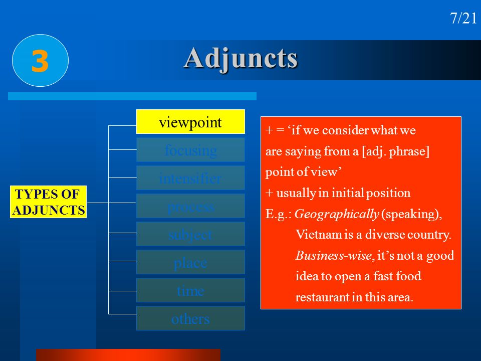 Adjuncts 3 7/21 viewpoint focusing intensifier process subject place