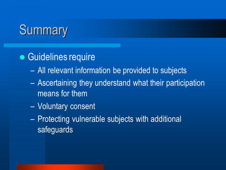 Summary Guidelines require